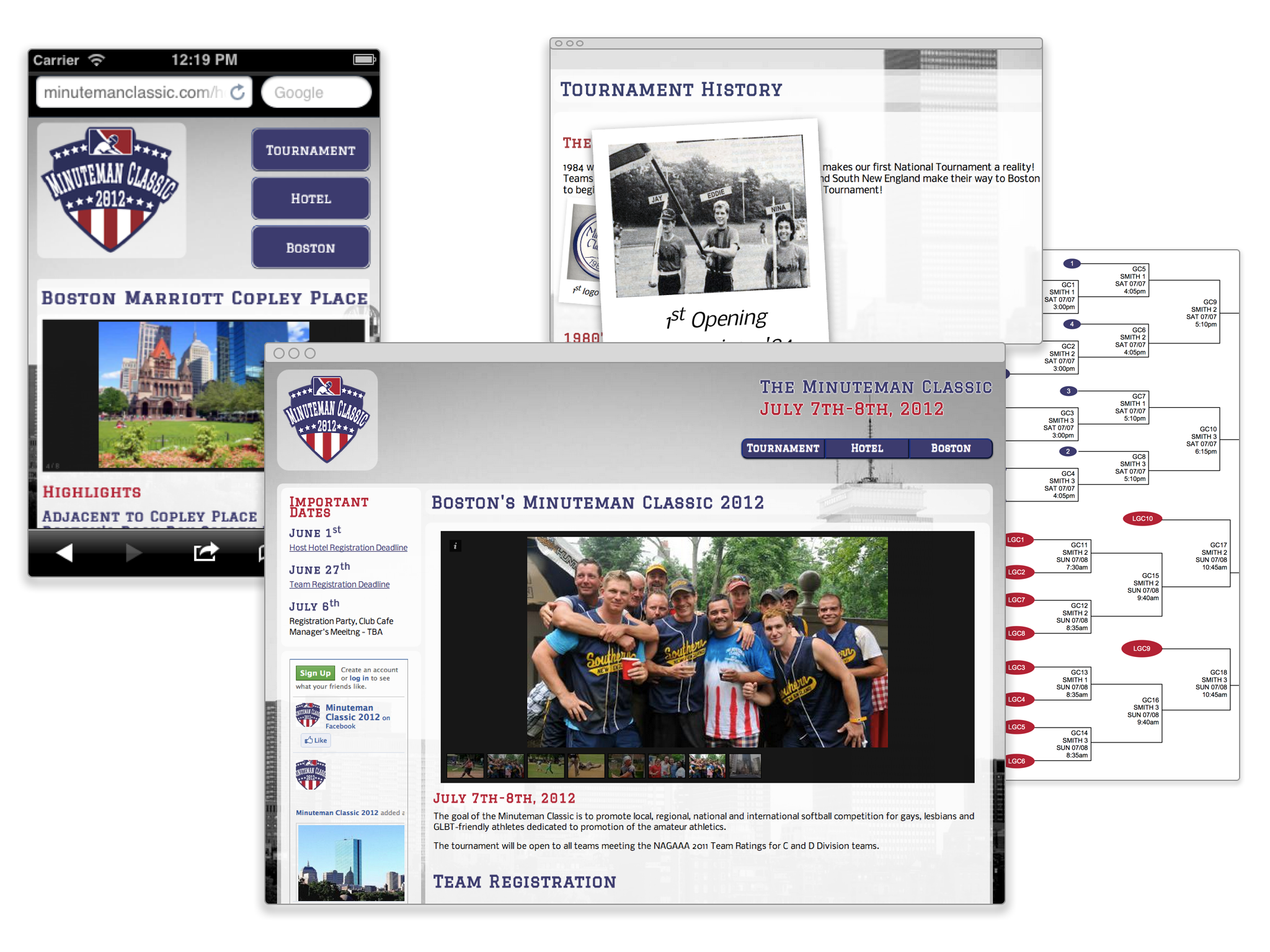 The minuteman screen shots of the homepage, responsive layout on small screens, the history gallery and tournament schedule